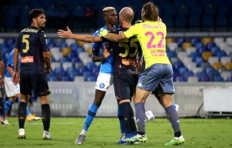 NAPLES, ITALY - SEPTEMBER 27: Victor Osimhen of SSC Napoli faces off with Andrea Masiello of Genoa CFC during the Serie A match between SSC Napoli and Genoa CFC at Stadio San Paolo on September 27, 2020 in Naples, Italy. (Photo by MB Media/Getty Images)