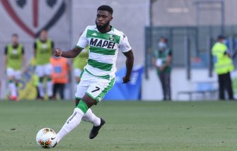 CAGLIARI, ITALY - JULY 18: Jeremie Boga of US Sassuolo Calcio in action during the Serie A match between Cagliari Calcio and  US Sassuolo at Sardegna Arena on July 18, 2020 in Cagliari, Italy. (Photo by Emanuele Perrone/Getty Images)