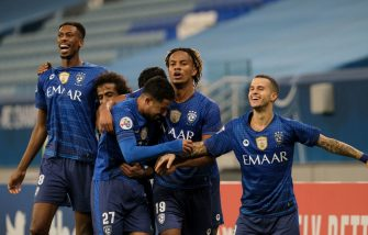 AL WAKRAH, QATAR - SEPTEMBER 14: Hattan Bahebri and his teammates celebrate his stoppage winner during the AFC Champions League match between Al Hilal SFC and Pakhtakor at Al Janoub Stadium on September 14, 2020 in Al Wakrah, Qatar. (Photo by Simon Holmes/Getty Images)