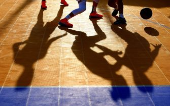 BAKU, AZERBAIJAN - JUNE 25:  A detail view of the players shadows during the Women's 3x3 Basketball round of 16 knockout match between Russia and Netherlands during day thirteen of the Baku 2015 European Games at the Basketball Arena on June 25, 2015 in Baku, Azerbaijan.  (Photo by Paul Gilham/Getty Images for BEGOC)