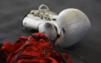 SHEFFIELD, ENGLAND - AUGUST 20: The gloves of Charlie Edwards during the Charlie Edwards Media Workout on August 20, 2019 in Sheffield, England. Charlie will take on Mexico's Julio Cesar Martinez at the O2 Arena in London on 31 August 2019. (Photo by George Wood/Getty Images)