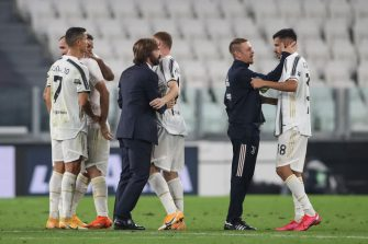 TURIN, ITALY - SEPTEMBER 20: Juventus Technical collaborator Roberto Baronio embraces Gianluca Frabotta as Head coach Andrea Pirlo compliments his players following the final whistle of the Serie A match between Juventus and UC Sampdoria at Allianz Stadium on September 20, 2020 in Turin, Italy. (Photo by Jonathan Moscrop/Getty Images)