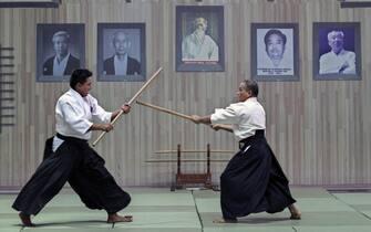 epa03836893 Two Aikidoka perform martial arts during the Myanmar International Aikido Demonstration, in Yangon, Myanmar, 25 August 2013. Ten countries of  Japan, Taiwan, Vietnam, Hong Kong, USA, France, Thailand, Singapore, Malaysia and Guam participate in the Myanmar International Aikido demonstration to mark the 60th anniversary of Aikido in Myanmar.  EPA/LYNN BO BO