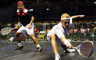 Canadian Andrew Snell (R) in action with Mexico Eric Galvez during squash match at the Pan American Games 2015 in Toronto, Canada, 17 July 2015. EPA/Javier Etxezarreta