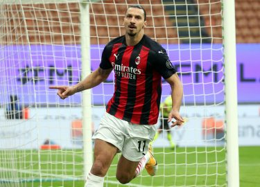 AC Milan's Zlatan Ibrahimovic jubilates after scoring the 0-1 goal during the Italian serie A soccer match  Fc Inter and Ac Milan at Giuseppe Meazza stadium in Milan 17 October 2020. ANSA / MATTEO BAZZI
