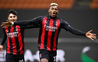 (201030) -- MILAN, Oct. 30, 2020 (Xinhua) -- AC Milan's Rafael Leao (R) celebrates his goal during the UEFA Europa League football match between AC Milan and Sparta Prague in Milan, Italy, Oct. 29, 2020. (Photo by Alberto Lingria/Xinhua) - Cheng Tingting -//CHINENOUVELLE_chine015978/2010300920/Credit:CHINE NOUVELLE/SIPA/2010300922