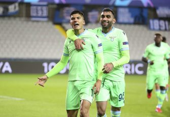 Joaquin Correa of Lazio Roma celebrates his goal with Mohamed Fares of Lazio Roma during the UEFA Champions League, Group Stage, Group F football match between Club Brugge and SS Lazio on October 28, 2020 at Jan Breydelstadion in Bruges, Belgium - Photo Jean Catuffe / DPPI / LM