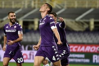 Nikola Milenkovic of ACF Fiorentina celebrates after scoring a goal during ACF Fiorentina vs Udinese Calcio, Italian soccer Serie A match in florence, Italy, October 25 2020