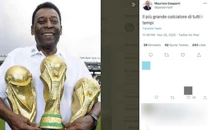 Maradona, Gasparri pubblica foto di Pelé su Twitter: bufera sui social