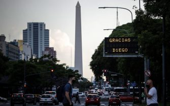 epa08842766 An electronic traffic board reads 'Thank you, Diego' in the wake of soccer legend Diego Armando Maradona's death, in Buenos Aires, Argentina, 25 November 2020. Maradona died aged 60 after a heart attack on 25 November 2020.  EPA/Juan Ignacio Roncoroni