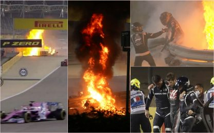 F1, incidente per Grosjean: vettura spezzata in due e in fiamme. VIDEO