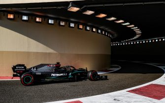 epa08878693 A handout photo made available by the FIA of British driver Lewis Hamilton of Mercedes AMG in action during the third practice session of the Formula One Grand Prix of Abu Dhabi at Yas Marina Circuit in Abu Dhabi, United Arab Emirates, 12 December 2020. The Formula One Grand Prix of Abu Dhabi will take place on 13 December 2020.  EPA/FIA/F1 HANDOUT  HANDOUT EDITORIAL USE ONLY/NO SALES *** Local Caption *** BAHRAIN, BAHRAIN - NOVEMBER 26: <<enter caption here>> during previews ahead of the F1 Grand Prix of Bahrain at Bahrain International Circuit on November 26, 2020 in Bahrain, Bahrain. (Photo by Rudy Carezzevoli/Getty Images)