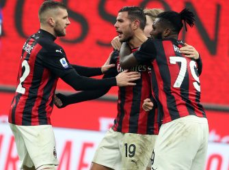 Milan s Theo Hernandez (C) celebrates  with his teammates after scoring the 2-2 goal  during the Italian serie A soccer match between Ac Milan and Parma Calcio 1913 at Giuseppe Meazza stadium in Milan, 13 December 2020. ANSA / MATTEO BAZZI
