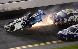 DAYTONA BEACH, FLORIDA - FEBRUARY 17: Ryan Newman, driver of the #6 Koch Industries Ford, flips over as he crashes during the NASCAR Cup Series 62nd Annual Daytona 500 at Daytona International Speedway on February 17, 2020 in Daytona Beach, Florida.   Jared C. Tilton/Getty Images/AFP == FOR NEWSPAPERS, INTERNET, TELCOS & TELEVISION USE ONLY ==