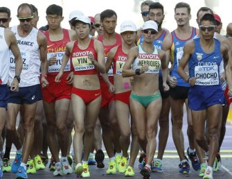 Athletes compete during the 50km Race Walk at the IAAF World Athletics Championships, in London, Britain, 13 August 2017. EFE/Lavandeira Jr