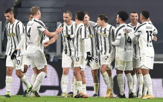 Juventusí Cristiano Ronaldo (2R) celebrates with his teammates after scoring the goal (1-0) during the italian Serie A soccer match Juventus FC vs Udinese Calcio at the Allianz Stadium in Turin, Italy, 3 january 2021 ANSA/ALESSANDRO DI MARCO