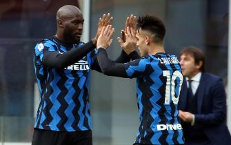 Inter Milan's Lautaro Martinez (R) jubilates with his teammate Romelo Lukaku after scoring goal of 1 to 1 during the Italian serie A soccer match  between Fc Inter and Crotone at Giuseppe Meazza stadium in Milan 3 January  2021.ANSA / MATTEO BAZZI