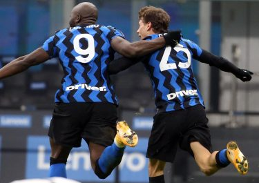 Inter's Nicolò  Barella (R)  celebrates with his teammate Romelu Lukaku  after scoring goal of 2 to 0  during the Italian serie A soccer match  between FC Inter and Juventus FC at Giuseppe Meazza stadium in Milan 17 January  2021. ANSA / MATTEO BAZZI