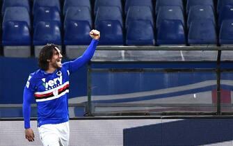 Sampdoria's Ernesto Torregrossa jubilates after scoring the gol during the Italian Serie A soccer match between UC Sampdoria vs Udinese Calcio at the Luigi Ferraris stadium in Genoa, Italy 16 January 2021ANSA/LUCA ZENNARO