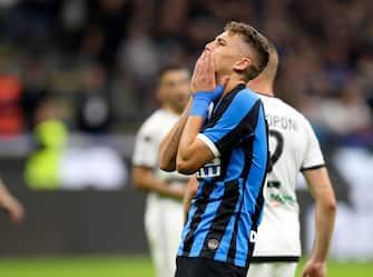 Inter's Sebastiano Esposito reacts during the Italian Serie A soccer match FC Inter vs Parma Calcio at the Giuseppe Meazza stadium in Milan, Italy, 26 October 2019.  ANSA/ROBERTO BREGANI