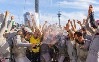 AUCKLAND, NEW ZEALAND - FEBRUARY 21: Luna Rossa Prada Pirelli Team Celebrate Winning Prada Cup Final With Official Champagne Sponsor G.H. Mumm at Auckland Harbour on February 21, 2021 in Auckland, New Zealand. (Photo by Stefano Gattini-Pool/Getty Images)