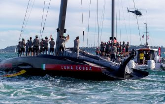 Luna Rossa Prada Pirelli team celebrates as they wins against INEOS Team UK in the Prada Cup final in Auckland on February 21, 2021. (Photo by Gilles Martin-Raget / AFP) (Photo by GILLES MARTIN-RAGET/AFP via Getty Images)
