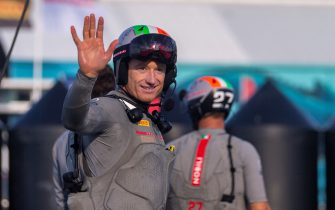 James Spithill of Luna Rossa Prada Pirelli team celebrates after winning the final of 2021 Prada Cup, the 36th America's Cup challenger series, in Auckland on February 21, 2021. (Photo by Gilles Martin-Raget / AFP) (Photo by GILLES MARTIN-RAGET/AFP via Getty Images)