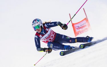 epa09058641 Marta Bassino of Italy clears a gate during the first run of the Women's Giant Slalom race at the FIS Alpine Skiing World Cup in Jasna, Slovakia, 07 March 2021.  EPA/str