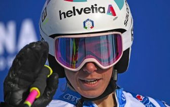 epa09021118 Marta Bassino of Italy reacts in the finish area during the 2nd run of the Women's Giant Slalom race at the FIS Alpine Skiing World Championships in Cortina d'Ampezzo, Italy, 18 February 2021.  EPA/CHRISTIAN BRUNA
