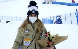 Marta bassino birthday during 2021 AUDI FIS Ski World Cup Val di Fassa - Downhill Women, alpine ski race in Val di Fassa, Italy, February 27 2021