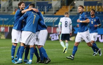 Italy's  Domenico Berardi jubilates with his teammates after scoring the goal during the FIFA World Cup Qatar 2022 qualification round one soccer match Italy vs  Northern Ireland at Ennio Tardini stadium in Parma, Italy, 25 March 2021. ANSA / ELISABETTA BARACCHI