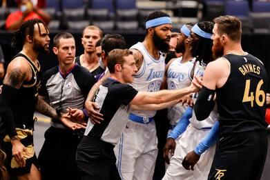 NBA, rissa tra Los Angeles Lakers e Toronto Raptors: due espulsi
