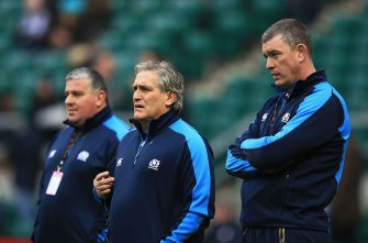 LONDON, ENGLAND - FEBRUARY 02:  (L-R) Massimo Cuttitta the Scotland scrum coach,Scott Johnson the Scotland interim head and Dean Ryan the Scotland interim forwards coach look on prior to kickoff during the RBS Six Nations match between England and Scotland at Twickenham Stadium on February 2, 2013 in London, England.  (Photo by Richard Heathcote/Getty Images)