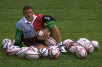 31 Aug 1997:  Portrait of Massimo Cuttitta of Harlequins surrounded by rugby balls at The Stoop in Twickenham, London. \ Mandatory Credit: John  Gichigi/Allsport