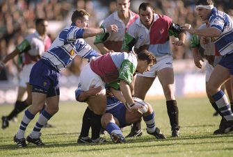 25 Oct 1997:  Massimo Cuttitta of Harlequins (centre) looks for support during the Allied Dunbar Premiership match against Sale at The Stoop in London. \ Mandatory Credit: Jamie McDonald /Allsport