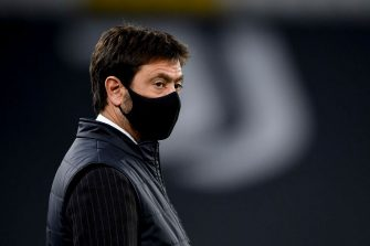 TURIN, ITALY - OCTOBER 28: Andrea Agnelli president of Juventus looks on before the UEFA Champions League Group G stage match between Juventus and FC Barcelona at Juventus Stadium on October 28, 2020 in Turin, Italy. Sporting stadiums around Italy remain under strict restrictions due to the Coronavirus Pandemic as Government social distancing laws prohibit fans inside venues resulting in games being played behind closed doors. (Photo by Daniele Badolato - Juventus FC/Juventus FC via Getty Images)