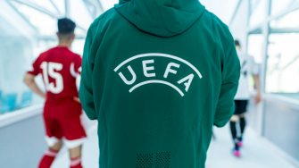 MANAVGAT, TURKEY - MARCH 23: The UEFA signage is seen during the UEFA U17 elite round match between Germany and Armenia on March 23, 2017 in Manavgat, Turkey. (Photo by Alexander Scheuber/Bongarts/Getty Images)