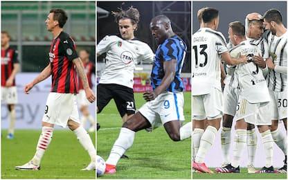 Serie A, 32a giornata: Milan ko. Juve-Parma 3-1, Spezia-Inter 1-1