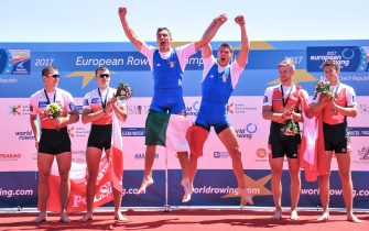 ZIETARSKI Miroslaw BISKUP of Poland Mateusz MONDELLI Filippo RAMBALDI Luca of Italy DELARZE Barnabe ROEOESLI Roman of Switzerland during medal ceremony of the Men's Double Sculls during the 2017 European Rowing Championships on May 28, 2017 in Racice, Czech Republic. (Photo by Lukasz Laskowski / PressFocus)