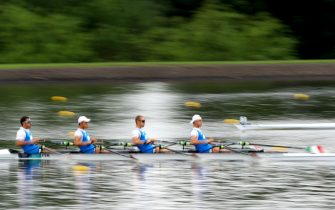 GLASGOW, SCOTLAND - AUGUST 02:  Filippo Mondelli, Andrea Panizza, Luca Rambaldi and Giacomo Gentili of Italy compete in Heat 2 of the Men's Quadruple Sculls during the Rowing on Day one of the European Championships Glasgow 2018 at Strathclyde Country Park on August 2, 2018 in Glasgow, Scotland.  (Photo by Dan Istitene/Getty Images)