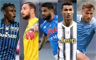 Le cinque squadre in lotta per la qualificazione in Champions: Atalanta, Milan, Napoli, Juventus, Lazio