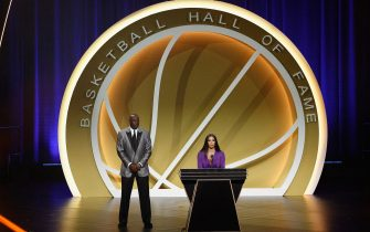 UNCASVILLE, CONNECTICUT - MAY 15: Vanessa Bryant speaks on behalf of Class of 2020 inductee, Kobe Bryant alongside presenter Michael Jordan during the 2021 Basketball Hall of Fame Enshrinement Ceremony at Mohegan Sun Arena on May 15, 2021 in Uncasville, Connecticut. Kobe Bryant tragically died in a California helicopter crash on Jan 26, 2020. (Photo by Maddie Meyer/Getty Images)