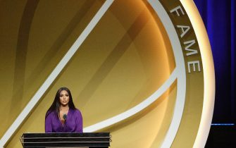 UNCASVILLE, CONNECTICUT - MAY 15: Vanessa Bryant speaks on behalf of Class of 2020 inductee, Kobe Bryant during the 2021 Basketball Hall of Fame Enshrinement Ceremony at Mohegan Sun Arena on May 15, 2021 in Uncasville, Connecticut. Kobe Bryant tragically died in a California helicopter crash on Jan 26, 2020. (Photo by Maddie Meyer/Getty Images)