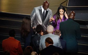 UNCASVILLE, CONNECTICUT - MAY 15: Vanessa Bryant is helped off the stage by presenter Michael Jordan after speaking on behalf of Class of 2020 inductee, Kobe Bryant during the 2021 Basketball Hall of Fame Enshrinement Ceremony at Mohegan Sun Arena on May 15, 2021 in Uncasville, Connecticut. Kobe Bryant tragically died in a California helicopter crash on Jan 26, 2020. (Photo by Maddie Meyer/Getty Images)