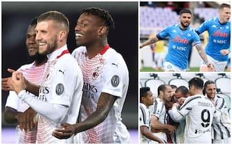 Le esultanze dei giocatori di Milan, Napoli e Juve