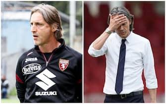 L'allenatore del Torino Davide Nicola e quello del Benevento Pippo Inzaghi
