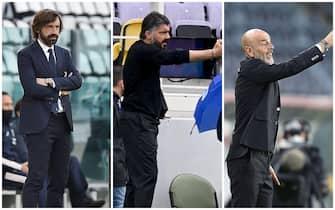Andrea Pirlo, mister della Juventus, Rino Gattuso, allenatore del Napoli e Stefano Pioli, allenatore del Milan