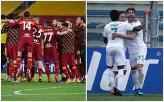 I giocatori della Roma esultano dopo la vittoria del derby. E quelli del Sassuolo dopo un gol contro il Parma