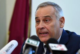Director of Anti-Terrorism of the Italian Police, Lamberto Giannini, speaks during a press conference on the arrest of Anis Hanachi, brother of Ahmed Hanachi who stabbed to death two women in the French city of Marseille earlier this month, in Rome, Italy, 09 October 2017. Police in the northern city of Ferrara said Monday that the suspect, Anis Hanachi, was arrested on an international warrant issued by French authorities.   ANSA / ETTORE FERRARI
