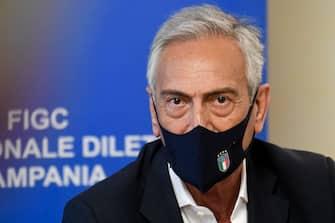 Il presidente della Federcalcio Gabriele Gravina a Napoli per un incontro con Carmine Zigarelli, presidente del Comitato Regionale LND  10 maggio   2021  ANSA/CIRO FUSCO